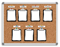 Week schedule. Vector illustration of corkboard with pinned clipboards with white sheets of paper for each week day Stock Image