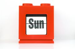 Week , Sun. Weekly calendar with red ,week Sun Stock Image