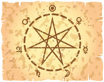 Weekdag heptagram op retro-gestileerd document blad Royalty-vrije Stock Afbeeldingen