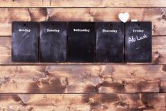 Weekday blackboard notices Stock Image