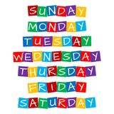 Weekday names set. Text in colorful rotated squares vector illustration