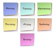 Weekdays. Color Post-it Notes With Handwritten Weekdays Royalty Free Stock Photo
