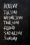 Weekdays on blackboard Royalty Free Stock Photography