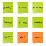 Weekdays isolated Royalty Free Stock Photography