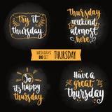 Weekdays motivation quotes big set. Stock Photo