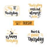 Weekdays motivation quotes big set. Stock Photos