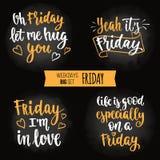 Weekdays motivation quotes big set. Royalty Free Stock Image