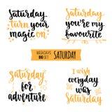 Weekdays motivation quotes big set. Royalty Free Stock Photos