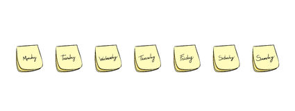 Weekdays Post-It Notes Royalty Free Stock Photos