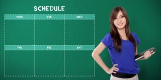 Weekdays school schedule and school girl Stock Images