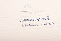 Weekend. Marked and written  in a calendar Royalty Free Stock Image