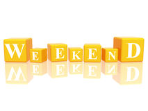 Weekend in 3d cubes. 3d yellow cubes with letters makes weekend Stock Photos