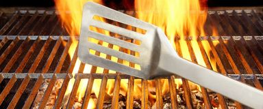 Weekend BBQ. Summer BBQ in the Backyard. Clean Barbecue Grill with Fire and Flame. Food Barbeque Background Stock Photo
