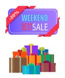 Weekend Best Sale Label 20 Off Discount Poster. With piles of gift boxes isolated on white background. Wrapped presents decorated by bows vector stock illustration