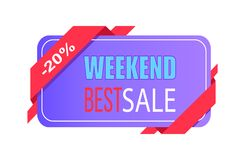 Weekend Best Sale 20 Off Price Label with Info. About discounts shopping tag isolated on white vector in flat style design, emblem holiday discounts royalty free illustration