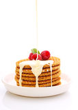 Weekend breakfast: waffles with condensed milk Royalty Free Stock Photography
