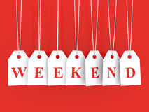 Weekend disounts. Announced on hanging white labels Stock Image