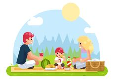 Weekend family vacation on nature food flat design vector illustration Royalty Free Stock Photography