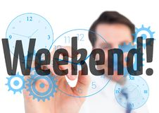 Weekend graphic write by business man on the screen. With clocks. Digital composite of Weekend graphic write by business man on the screen. With clocks Royalty Free Stock Images