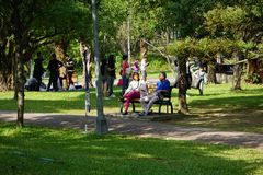 In the weekend and holidays Taiwanese people who love good chill atmosphere and nice environment have relax time at Daan Park royalty free stock photo