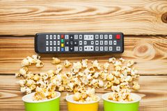 Weekend at home, leisure lifestyle, TV, fast food concept. royalty free stock photo