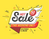Weekend Hot Sale banner. Template in flat trendy memphis geometric style, retro 80s - 90s paper style poster, placard, web banner design Royalty Free Stock Image