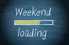 Weekend Loading, Blue Chalkboard With Text Royalty Free Stock Photos
