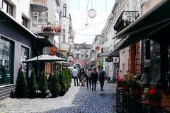 Weekend no centro de Ternopil, Ucrânia imagem de stock royalty free