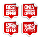 Weekend offer speech bubbles stickers. Stock Images