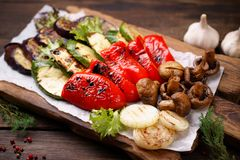 Weekend picnic food, grilled barbecue vegetables. Summer snack, grill bar, tasty barbecue vegetables. Summer delicious healthy food for a big company of people royalty free stock photography