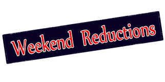 Weekend reductions. Rubber stamp with text weekend reductions inside, vector illustration royalty free illustration