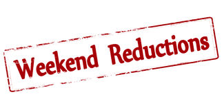 Weekend reductions. Rubber stamp with text weekend reductions inside, vector illustration stock illustration