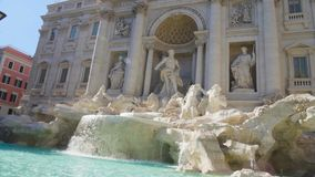 Weekend in Rome, panorama of Trevi fountain on a sunny day, sightseeing tour. Stock footage stock footage