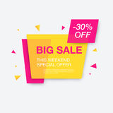 Weekend sale banner, special offer. 30 percents discount, vector eps10 illustration Royalty Free Stock Photo