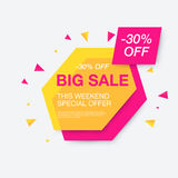 Weekend sale banner, special offer. 30 percents discount, vector eps10 illustration Stock Photo