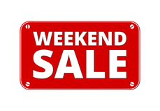 Weekend Sale - brass plate. On white background Stock Images