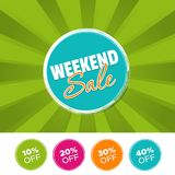 Weekend sale color banner and 10%, 20%, 30% & 40% Off Marks. Vector illustration. Weekend sale color banner and 10%, 20%, 30% & 40% Off Marks. Eps10 Vector Royalty Free Stock Image