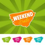 Weekend sale color banner and 10%, 20%, 30% & 40% Off Marks. Vector illustration. Weekend sale color banner and 10%, 20%, 30% & 40% Off Marks. Eps10 Vector Royalty Free Stock Photo