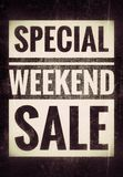 Weekend sale. Special weekend sale, text on jeans background Stock Image