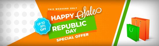 Weekend sale website header design with 50% discount offer and s. Hopping bags on abstract background. Advertising banner for Happy Republic Day celebration royalty free illustration