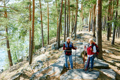 Weekend of seniors. Contemporary seniors trekking in the forest during summer weekend stock images