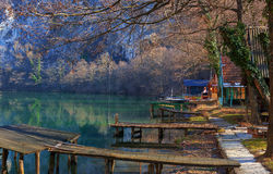 Weekend Settlement Besides River. Landscape of a weekend settlement on river, West Morava river in Serbia Stock Photography