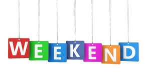 Weekend Sign On Colorful Tags Stock Photo