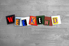 Weekend - sign. Letters on tiles royalty free stock image