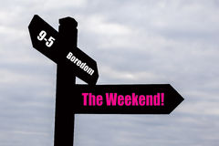 Weekend - Signpost. Signpost for the weekend stock photos
