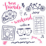 Weekend sketch art romantic set of hand drawn elements with phone booth, photo card and bicycle. For greeting card and decoration Stock Photos