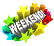 Weekend Stars Exciting Word Saturday Sunday Break. The word Weekend in a colorful starburst to illustrate the excitement of the end of the week, on the days Royalty Free Stock Photos