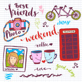 Weekend stickers romantic set of hand drawn elements with phone booth, photo card and tandem bike. For greeting card and decoratio Royalty Free Stock Photography
