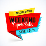 Weekend Super Sale banner. Big sale special offer, save up to 50 Stock Photo