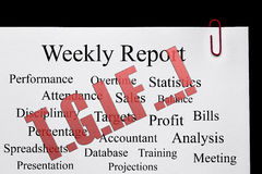 Weekend - TGIF - Sign - Thank God It's Friday !. TGIF - stamped over a report document royalty free stock image